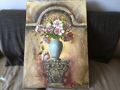 Lovely Large Oil Painting On Canvas Of A Vase Of Flowers