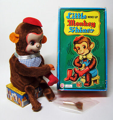 Little wind up Monkey Shiner, mechanischer Schuhputz-Affe, 1990er, China MS 383