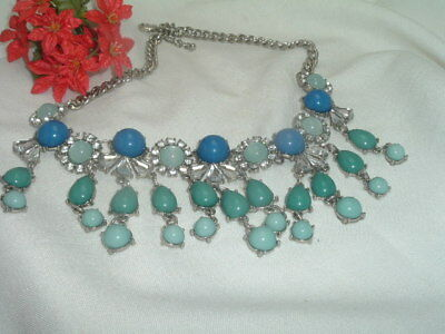 Vintage Egyptian Revival Bib Collar Necklace Blue And Turquoise Lucite