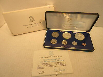 1981 British Virgin Islands 7 Coin Proof Set PS11 Minted At The Franklin Mint