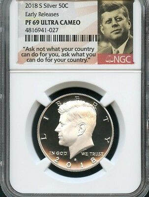2018 S Silver Kennedy Half Dollar Early Releases NGC PF69 Ultra Cameo (Portrait)