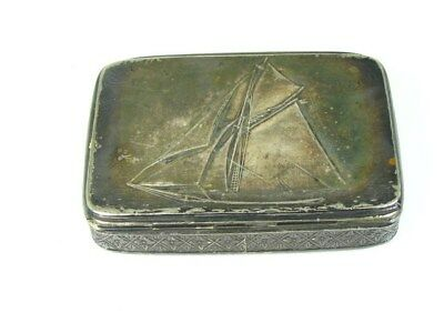 Antique Silver Soldered R. Wallace & Sons Sailboat Trinket Box 77.9g