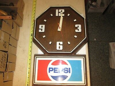 Vintage PEPSI Cola Soda 110v Operated Plastic Wall Clock Sign Advertisement
