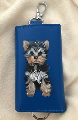 Hand Painted Yorkie, Yorkshire Terrier on Key Ring With Pocket