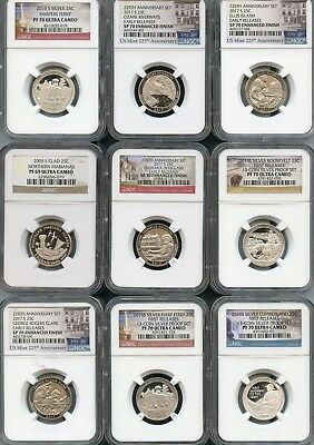 Mixed Lot Quarters (9 Pieces) NGC PF69/70 Ultra Cameo (As Pictured) 118