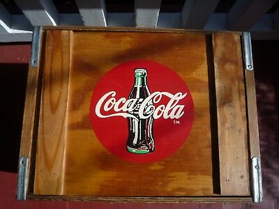 Vintage DRINK COCA COLA IN BOTTLES  wood divided CRATE BOX w Lid