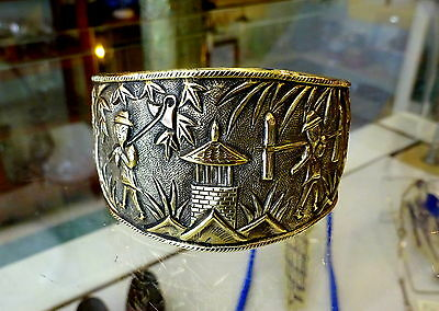 Vintage Chinese Export Repouse Etched Gilded Silver Cuff Bangle Figural