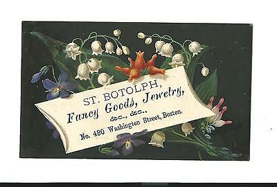 Old Trade Card St. Botolph Fancy Goods Jewelry Boston Lilly Of Valley Monastery