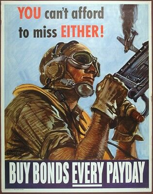 Original US WW II Poster YOU CAN'T AFFORD TO MISS EITHER by Martha Sawyers, 1944