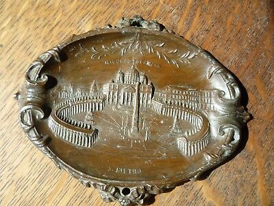 Antique Art Nouveau Bronze wall Plaque RICORDO DI ROMA ITALY signed S. Pietro