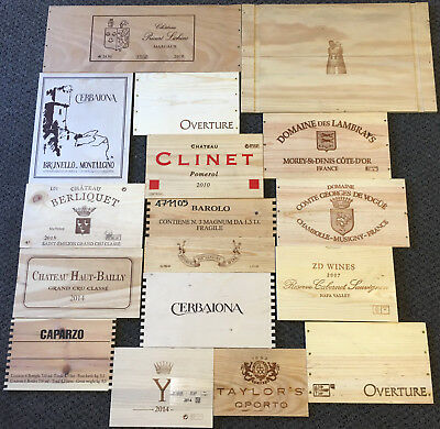 17 Wooden Wine Box End Panels from Wine Crates for Decoration Rare Wines Lot 5
