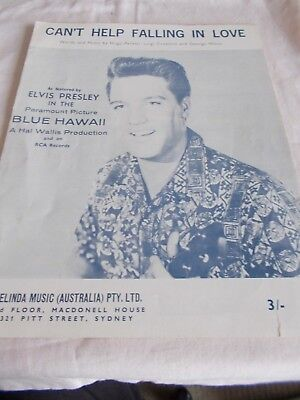 Elvis Presley - Can't Help Falling In Love - Oz 4 Page Sheet Music - Blue Hawaii