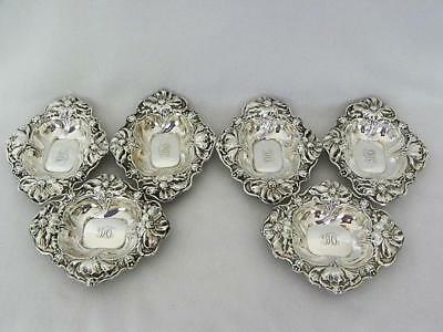 Set of Six Art Nouveau Sterling Silver Nut Dishes Alvin Repousse Poppies c 1900