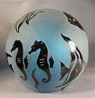 Vtg? Signed Correia Frosted Blue Art Glass Paperweight Tropical Fish/seahorses