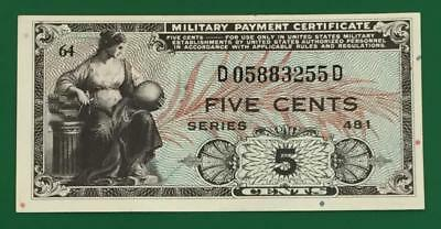 Military Payment Certificate Series 481 FIVE CENTS Choice Uncirculated! Very Nic