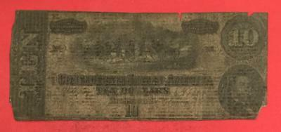 1864 $10 US Confederate States of America! Old US! Paper Money Currency