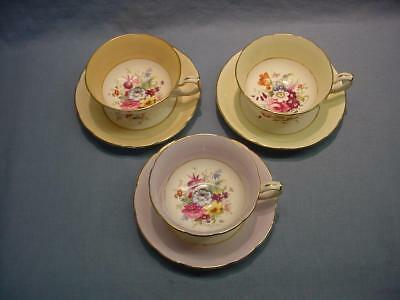 3 English Hammersley Teacups & Saucers - Signed F. Howard