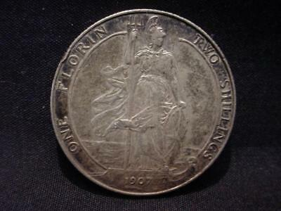 1907 King Edward VII Silver Florin Two Shilling Coin