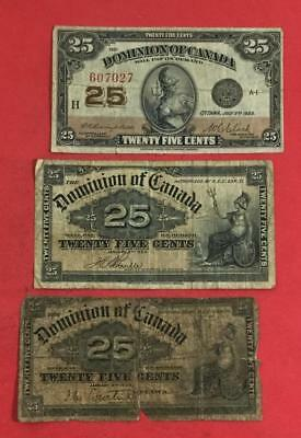 "1900-1923 Dominion of Canada Fractional Currency ""TWENTY FIVE CENTS"" Set of 3!"