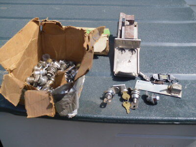 Lot of vending machine locks, parts and counter box