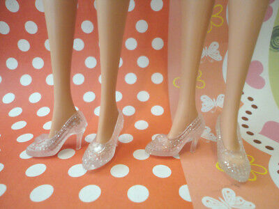 Doll Shoes ~ 2PAIRS Barbie Cinderella Clear High Heel Shoes #S2008 NEW