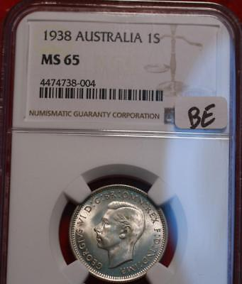 1938 Australia One Shilling Silver Coin NGC Graded MS 65