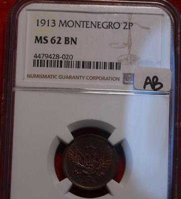 1913 Montenegro 20 Para Coin NGC Graded MS 62 BN