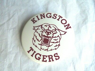 Cool Vintage Kingston Tigers High School Sports Spirit Plastic Pinback Button