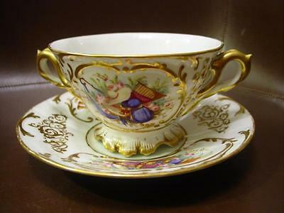 Fine Old Paris Hand Painted Oversized Soup Cup & Saucer W/ Heavy Gilding 1890s