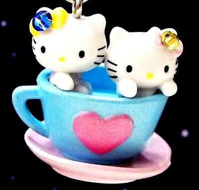 Hello Kitty Twins Loves Cafe Cup Swarovski Elements Crystals Japan Charm