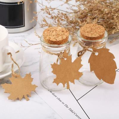 100pcs Maple & Leaf Kraft Paper Gift Decor Tags With Rope Mood Card Note DIY LC