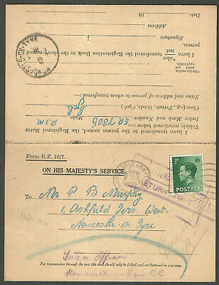 Reply Card 1/2D Edward Viii Newcastle On Tyne 1936 Return To Sender Undelivered