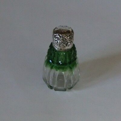 Victorian Silver Mounted Green To Clear Cut Glass Scent Bottle.birmingham.1898