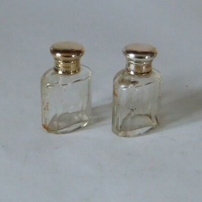 Antique Pr Silver Gilt Screw Topped/faceted Glass  Scent Bottles.london 1908