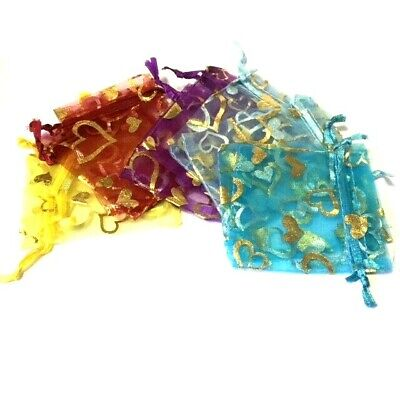 10 / 20 /100 pieces Heart Organza Bags - 70 x 90mm / 2.7x3.5 inch