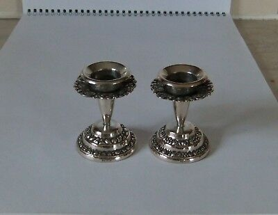 Pair Of Ornate Continental Silver  Candle Sticks Stamped 800.