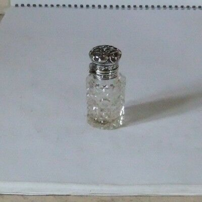 Antique Silver Hinged Cut Glass Scent Bottle.birmingham.1911.