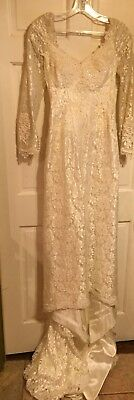 Vintage 1970s CUSTOM Wedding Gown White Chantilly Lace Cathedral Length  XS~EXC