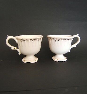 2 Tasse A Cafe Sur Pied Decor Peint Main Rehausse Or Faience De St Clement