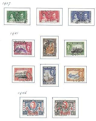 Hong Kong stamps 1937 Collection of 11 stamps HIGH VALUE!