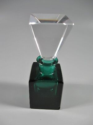 Vintage Crystal Perfume Bottle Emerald Green with Stopper