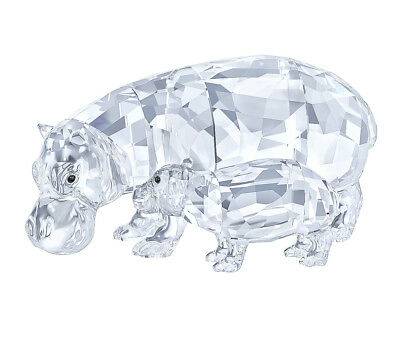 Swarovski Clear Crystal Set of 2 Figurines HIPPO MOTHER WITH BABY - 5135920 New