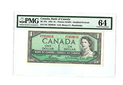 1954 $1 CANADA PMG 64 CHC UNC BC-37c BANKNOTE SN S/F7959616 PREVIOUSLY MOUNTED