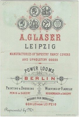 1885 Antwerp Exposition Leipzig Textile & Tapestry Manufacturer's Card