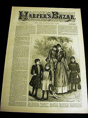 Harper's Bazar 6-21-1890 Very Fine w VICTORIAN DRESS PATTERNS Tennyson Somersby