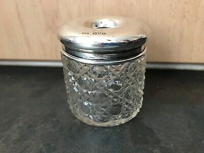 Pretty Edwardian Glass Dressing Table Jar With Silver Top (Chester Hallmarks)