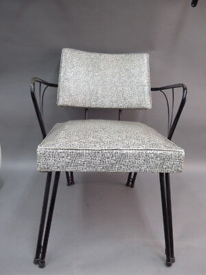 Viko Baumritter Mid-Century Modern Grey Speckled Vinyl Chair w/ Black Metal Arms & VIKO BAUMRITTER MID-CENTURY Modern Grey Speckled Vinyl Chair w ...