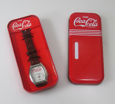 VINTAGE COLLECTOR Coca Cola Wrist Watch In Retro Refrigerator Tin Case  as is