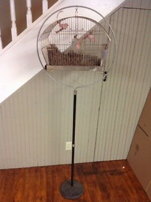 """VINTAGE CANARY PARAKEET WIRE HENDRYX? CROWN? BIRD CAGE & 66"""" Hoop STAND"""