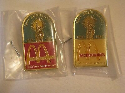 2 NEW-OLD 1886-1986 STATUE OF LIBERTY 100th ANNIVERSARY AND MCDONALD's 30th PINS